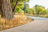 late summer on the Poudre River Trail in northern Colorado near Windsor. It is a  paved bike trail e poster