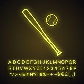 Baseball Bat And Ball Neon Light Icon poster