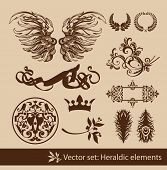 Set of the vintage heraldic elements. Isolated.