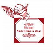 Feliz día de San Valentín tarjeta con Cupido aislado en blanco