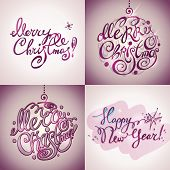 Christmas Card. Merry Christmas and Happy New Year lettering by four styles of a writing on a violet