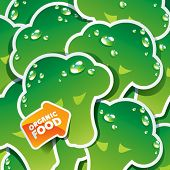 Background from broccoli with the arrow by organic food. Vector illustration.