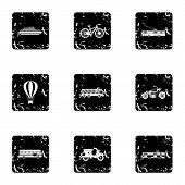 Movement On Machine Icons Set. Grunge Illustration Of 9 Movement On Machine Icons For Web poster
