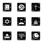 Religion Icons Set. Grunge Illustration Of 9 Religion Icons For Web poster