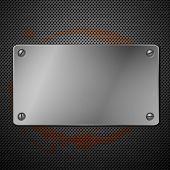 Metallic plaque for signage. Vector illustration
