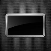 Glossy black plate on a metallic background. Eps10