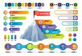 Step Infographics. Pyramid Graph With Process Options, Infocharts And Timeline. Marketing Business I poster