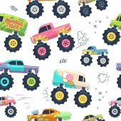 Monster Cars Seamless Pattern. Kid Trucks With Big Wheel. Vector Endless Background. Pattern And Bac poster
