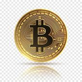 Bitcoin. Golden Cryptocurrency Coin. Electronics Finance Money Symbol. Blockchain Bitcoin Isolated I poster