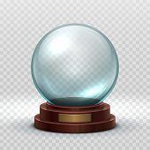 Christmas Snowglobe. Crystal Glass Empty Ball. Magic Xmas Holiday Snow Ball Vector Mockup Isolated.  poster