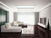modern interior design of living-room in monochrome tones, 3D render