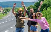 Travellers Try To Stop Car. Begin Great Adventure In Your Life With Hitchhiking. Friends Hitchhikers poster