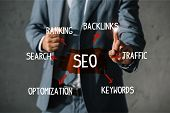 Cropped View Of Developer In Formal Wear Pointing At Seo Sign poster
