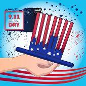 Usa September Patriot Day Concept Background. Cartoon Illustration Of Usa September Patriot Day Vect poster