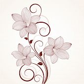 Beautiful floral background with flowers lily. Element for design.