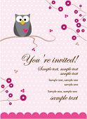 Owl Baby Girl Invitation Card