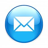 e-mail circle blue button icon isolated on white