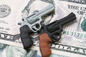 American Gun Industry, Gun Control Policy In United State Of America Concept, Miniature Toy Guns On  poster