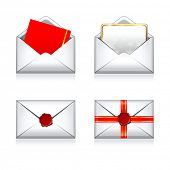 Set Christmas vector envelope e- mail icons with wax press.