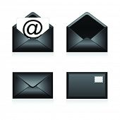 Set vector e mail black icon