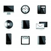 Set office end business black icons. Vector .