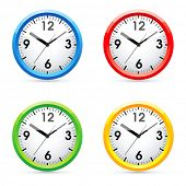 Collection of vector color wall clock.