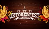 Oktoberfest Banner Illustration With Typography Lettering On Vintage Wood Background. Vector Traditi poster