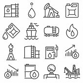 Industry Oil Linevector Icon Set - Oil Jack Vector, Canister, Offshore Platform, Gas Station, Pipeli poster