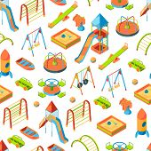 Vector Isometric Playground Objects Background Or Pattern Illustration. Swing Outdoor, Recreation Ca poster