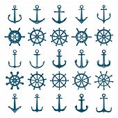 Wheels Ship Anchors Icon. Steering Wheels Boat And Ship Anchors Marine And Navy Symbols. Vector Silh poster