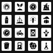 Ecology Icons Set. Simple Illustration Of 16 Ecology Icons For Web poster