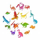 Dinosaur Icons Set. Cartoon Illustration Of 16 Dinosaur Types Icons For Web poster