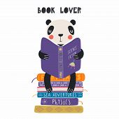Hand Drawn Vector Illustration Of A Cute Funny Panda Reading A Book, With Quote Book Lover. Isolated poster