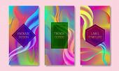 Vector Vibrant Colored Packaging Design. Set Of Colorful Labels Templates For Trendy Goods. Iridesce poster