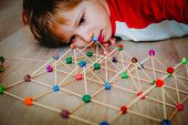 Child Making Geometric Shapes, Engineering And Stem poster