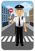 Police officer at crossroad.