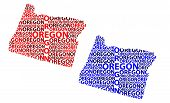 Sketch Oregon (united States Of America) Letter Text Map, Oregon Map - In The Shape Of The Continent poster