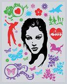 Design elements, girl, icons, pattern