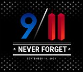 9/11 Patriot Day, September 11th, We Will Never Forget. 9/11 Memorial Vector Illustration With Stars poster