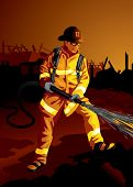 Profession set: brave fire fighter at work (more professions in our portfolio)