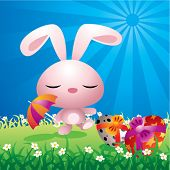 Colorful illustration of a sweet Easter bunny walking in a spring field.