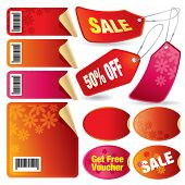 Vector illustration of a set of red sale stickers and tags and labels.