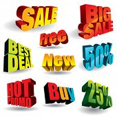 Set of colorful discount slogans.