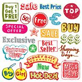 Collection of hand-drawn sale and shopping doodles. Visit my portfolio for more sale vectors.