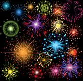 stock photo of firework display  - great set of colorful fireworks - JPG