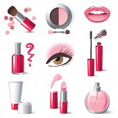 Glamorous make-up icons set - vector.