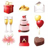 love and marriage icons set