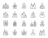 Candle Flame Thin Line Icons Set. Outline Sign Kit Of Church Decoration. Memorial Fire Linear Icon W poster