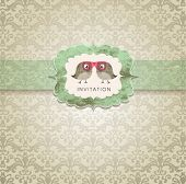 image of wedding  - Cute wedding invitation card with vintage ornament background - JPG