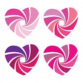 variations of pink hearts on white background
